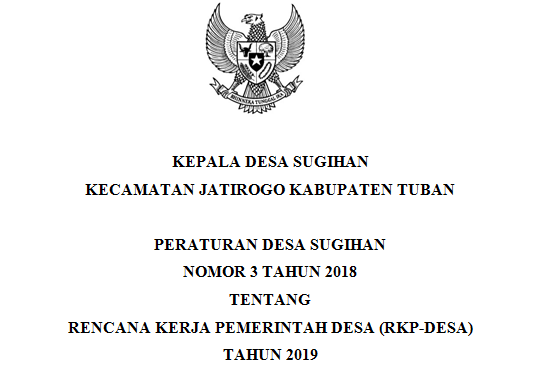 Peraturan Desa Sugihan Nomor 3 Tahun 2018