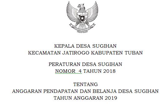 Peraturan Desa Sugihan Nomor 4 Tahun 2018
